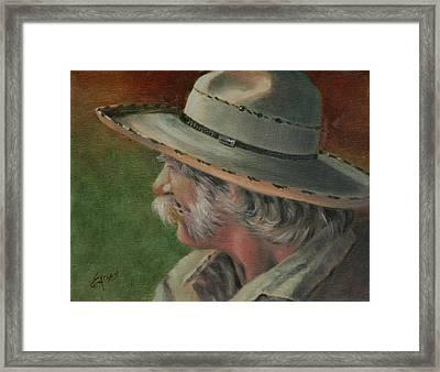 Just An Old Cowhand Framed Print by Linda Eades Blackburn