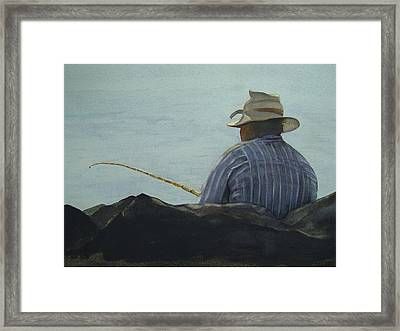Just Fishing Framed Print by Sarah Buell  Dowling