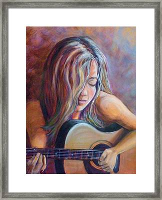 Framed Print featuring the painting Just Strumming by Pauline  Kretler