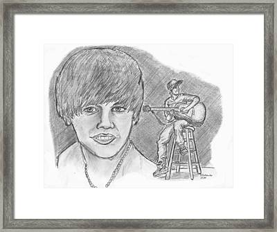 Framed Print featuring the drawing Justin Bieber- Bieber Fever by Chris  DelVecchio
