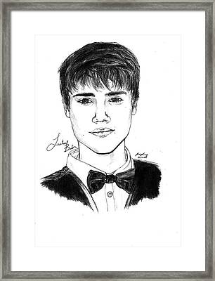 Justin Bieber Suit Drawing Framed Print by Kenal Louis