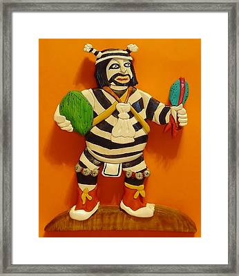 Kachina Clown  Framed Print by Russell Ellingsworth