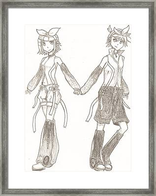 Kagamine Rin And Len  Framed Print by Martin Quach