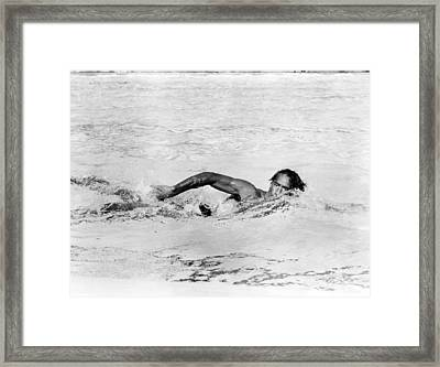 Kahanamoku, Aka Duke Kahanamoku, Swims Framed Print by Everett