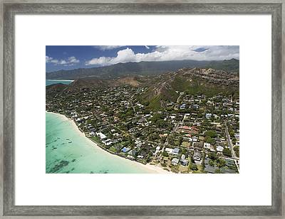 Kailua Aerial Framed Print by Peter French
