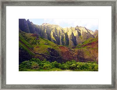 Kalalau Beach Mountains Kauai Framed Print by Kevin Smith