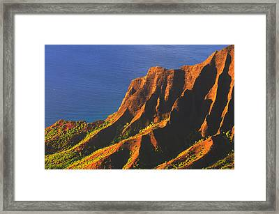 Kalalau Valley Sunset In Kauai Framed Print by Hegde Photos