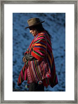 Kallawaya Medicine Man. Republic Of Bolivia.  Framed Print by Eric Bauer