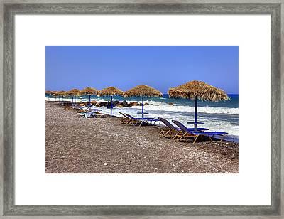 Kamari - Santorini Framed Print