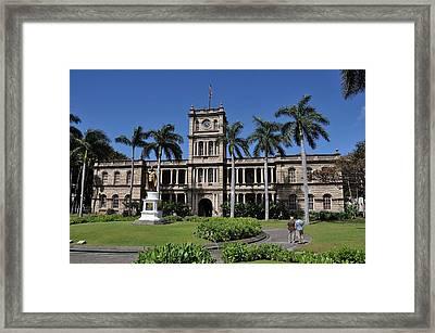 Kamehameha And  Aliiolani Hale 2 Framed Print by Donald Sauret