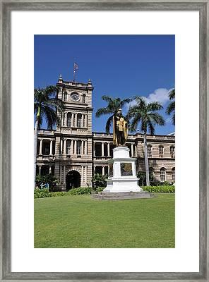 Kamehameha And  Aliiolani Hale Framed Print by Donald Sauret