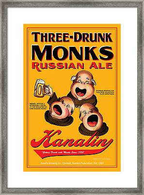 Kanalin Three Drunk Monks Framed Print by John OBrien