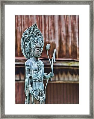 Kannon Bodhisattva Framed Print by Karen Walzer