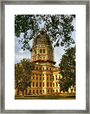 Kansas State Capitol Building Framed Print by Lynne and Don Wright