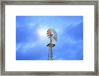 Kansas Windmill In The Sun Framed Print