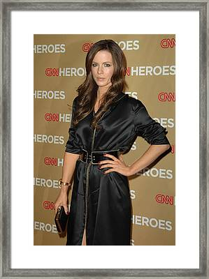 Kate Beckinsale Wearing An Yves Saint Framed Print by Everett