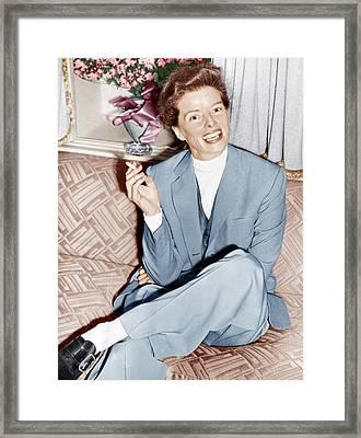 Katharine Hepburn In England, Ca. 1952 Framed Print by Everett