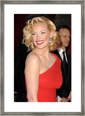 Katherine Heigl At Arrivals For Red Framed Print by Everett