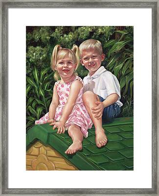 Framed Print featuring the painting Katie And Mitchell by Nancy Tilles