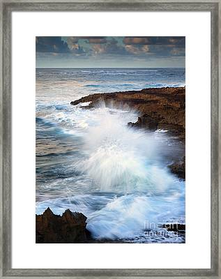 Kauai Sea Explosion Framed Print by Mike  Dawson