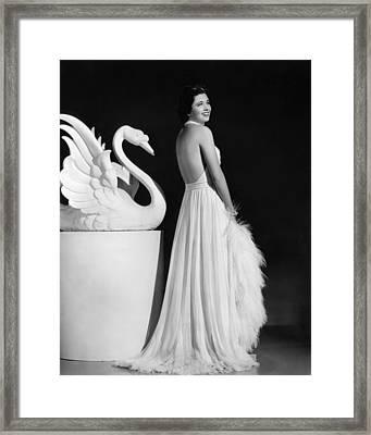 Kay Francis Modeling White Chiffon Framed Print by Everett