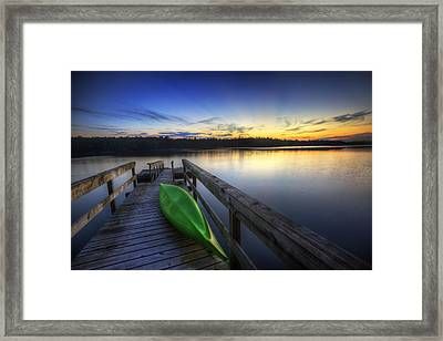Kayak By The Lake Framed Print by Zarija Pavikevik