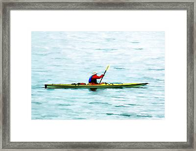Kayak Out On The Bay Framed Print by Tracie Kaska