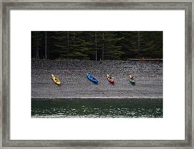 Kayak Shore Framed Print