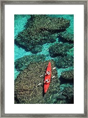 Kayakers In Clear Blue Water Framed Print by Ralph Lee Hopkins