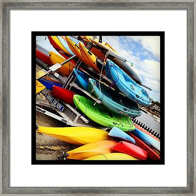 Kayaks For Rent In Rockport Framed Print by Matthew Green
