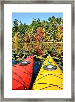 Framed Print featuring the photograph Kayaks In The Fall by Rick Frost