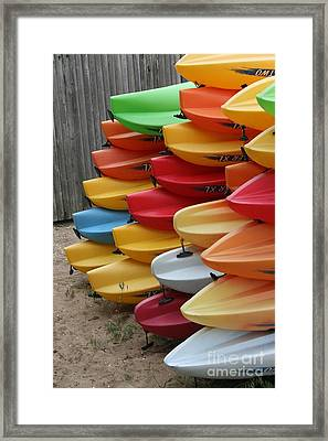 Kayaks Framed Print by Kerryn Davis