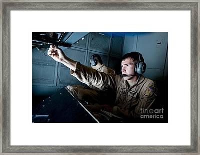 Kc-10 Extender Boom Operator Adjusts Framed Print