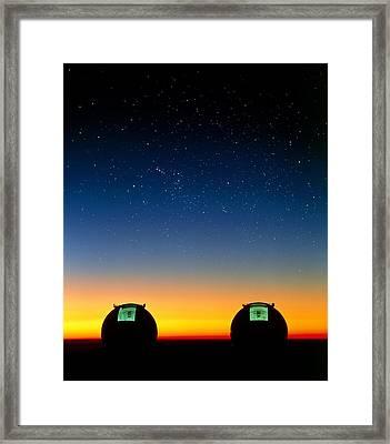 Keck I And II Telescopes On Mauna Kea, Hawaii Framed Print by David Nunuk