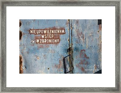 Keep Out Warning Sign Framed Print
