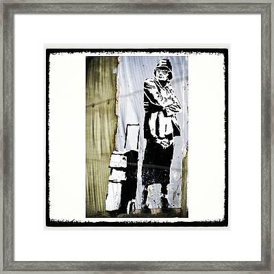 Keeping It Old School#banksy #stencil Framed Print