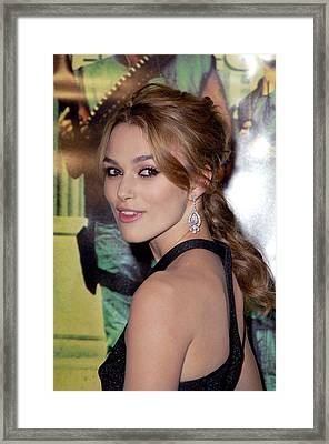 Keira Knightley At Arrivals For Domino Framed Print by Everett