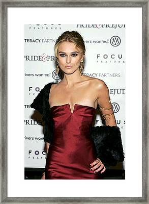 Keira Knightley Wearing A Calvin Klein Framed Print