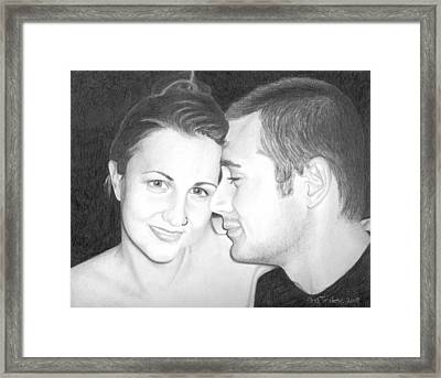 Framed Print featuring the drawing Kelly And Chris Lanktree by Ana Tirolese