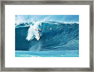 Kelly Slater At Pipeline Masters Contest Framed Print
