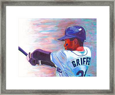 Ken Griffey Jr Framed Print by Jeff Gomez