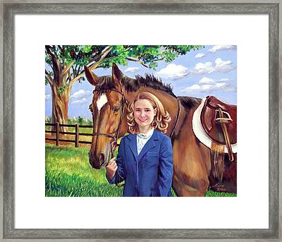 Framed Print featuring the painting Kendall And Her Horse by Nancy Tilles