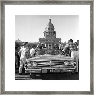 Kennedy And Johnson In 1960 Framed Print by Everett