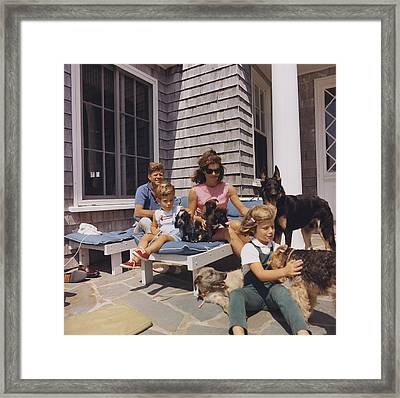 Kennedy Family And Their Many Dogs Framed Print by Everett