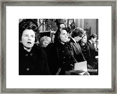 Kennedy Family Members At The Funeral Framed Print by Everett