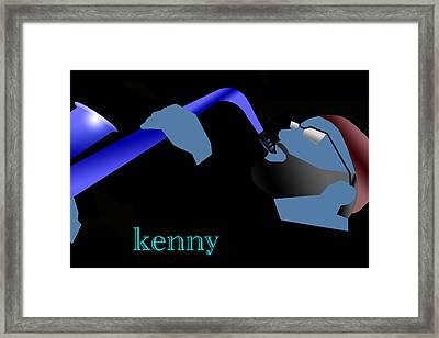 Kenny Garrett Blue Framed Print by Victor Bailey