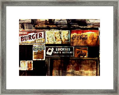 Framed Print featuring the photograph Kentucky Shed Ad Signs by Tom Wurl