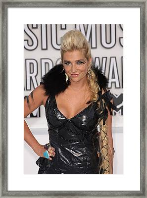 Kesha At Arrivals For 2010 Mtv Video Framed Print