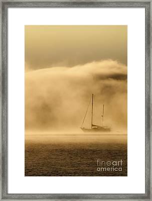 Ketch In Mist Framed Print by Avalon Fine Art Photography