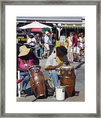 Framed Print featuring the photograph Key West Street Musicians by Helen Haw